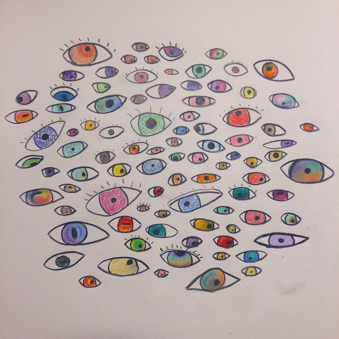 a drawing of 100 eyes