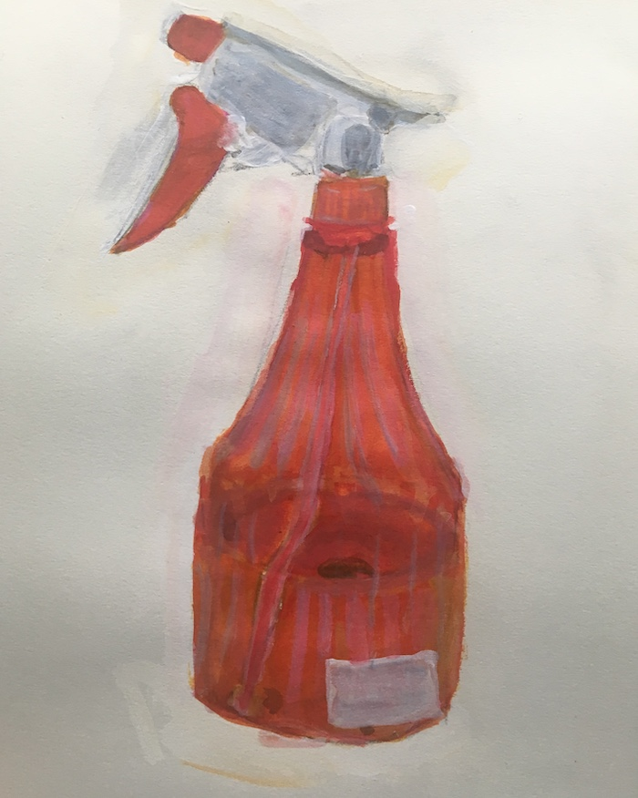 A drawing of a spray bottle