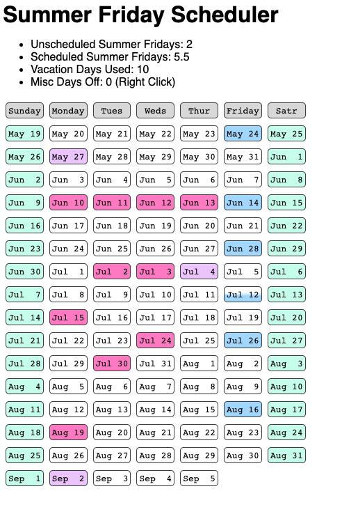 A calendar showing May through September